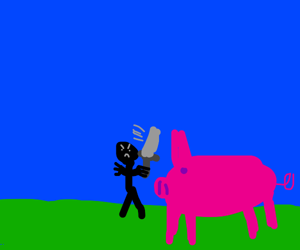 man with sword tries to fight giant pig