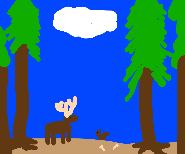 A moose and a squirrel
