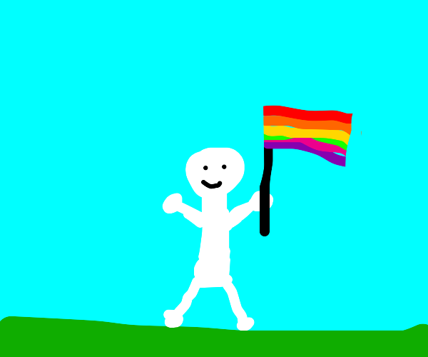 person happily holds pride flag