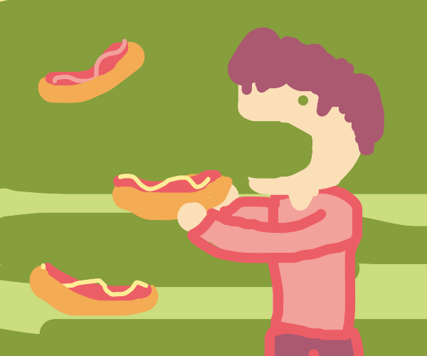 Man Devouring Hotdogs