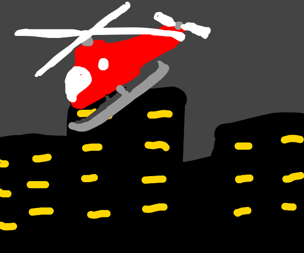 A red helicopter