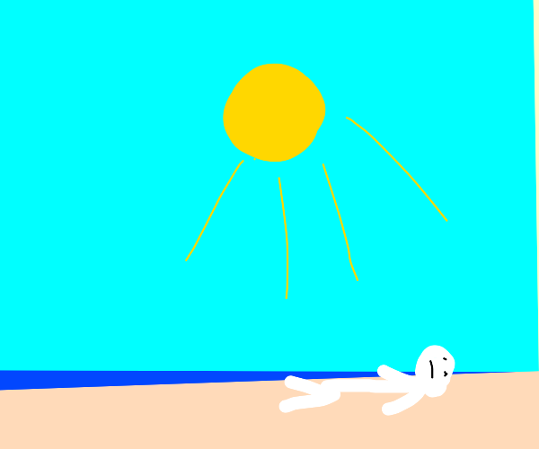 really white man is on beach to get a tan