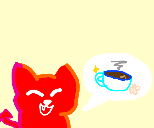 Demon kitty tempts you with hot tea