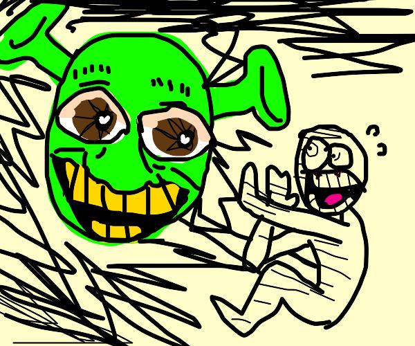Man is terrified of shrek
