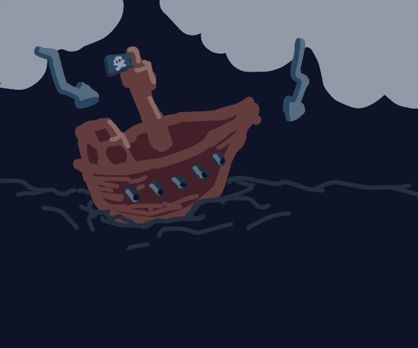 Pirate ship in a storm