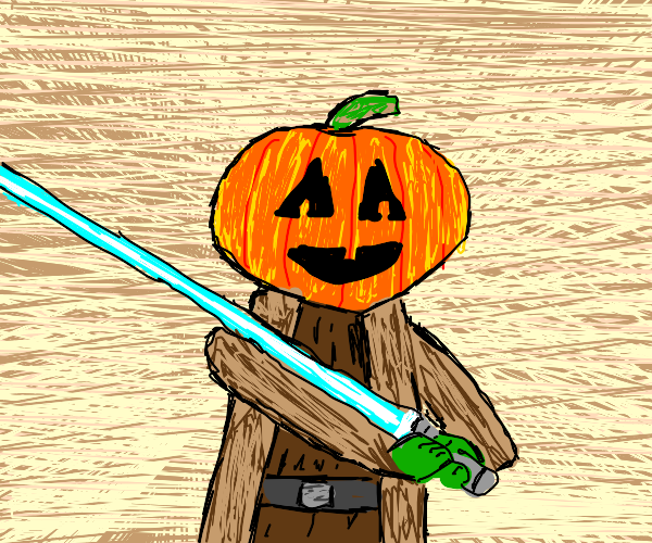 Jedi pumpkin is ready to kick some ass