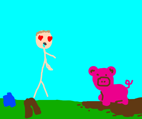 Naked stickman in love with stinky pig in mud