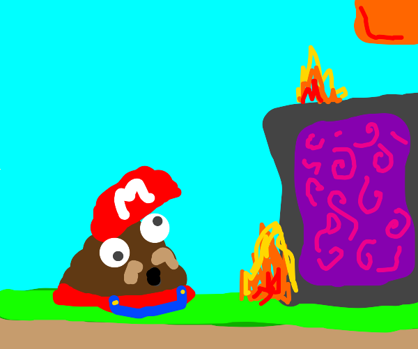 crappy mario looks and a portal with fire