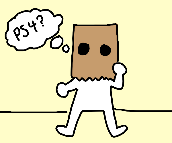 Man  paper bag on his head thinks about ps4