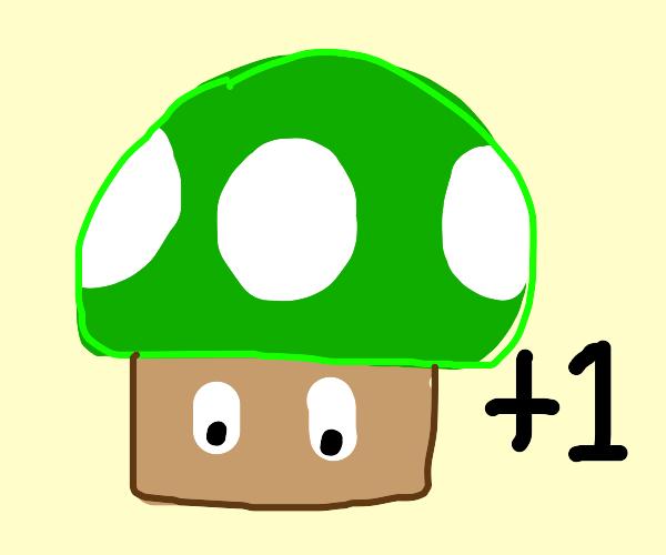 Green mario mushroom gains a point