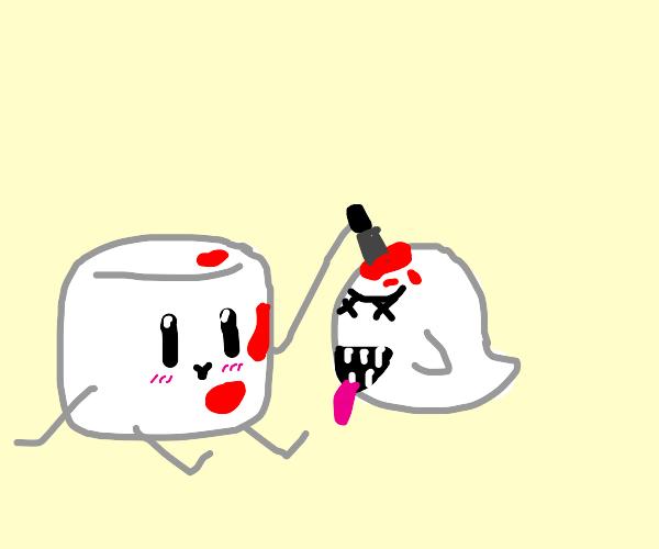 Marshmallow man is killin Boo from mario