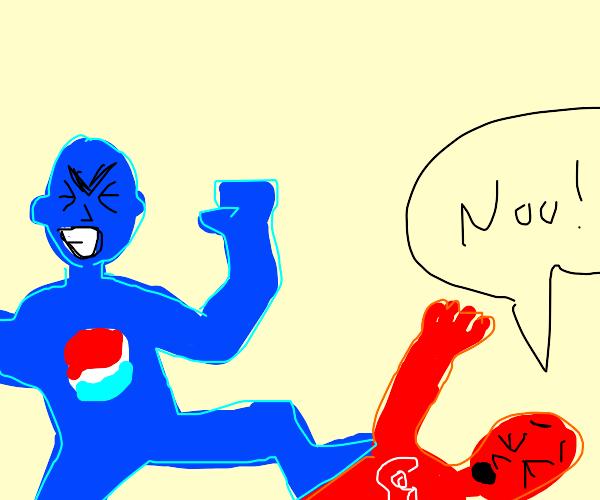 Human embodiment of Pepsi defeats coke