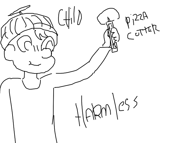harmless child with pizza cutter