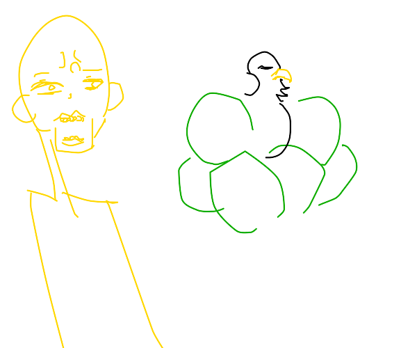 golden alien with eagle on his headeatingpeas