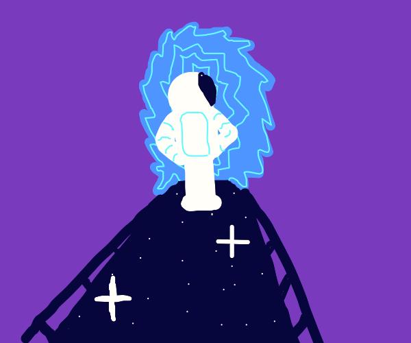 astronaut crosses a spacebridge into a portal