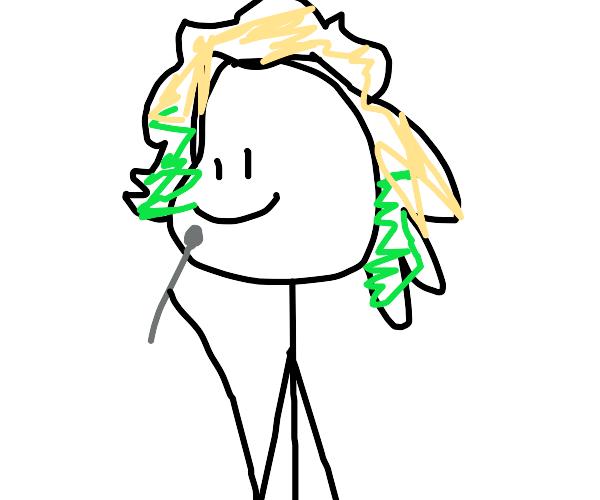 Sadie Miller with half-green hair