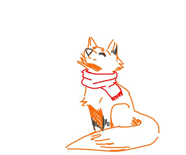 Cute Fox Wearing Red Scarf