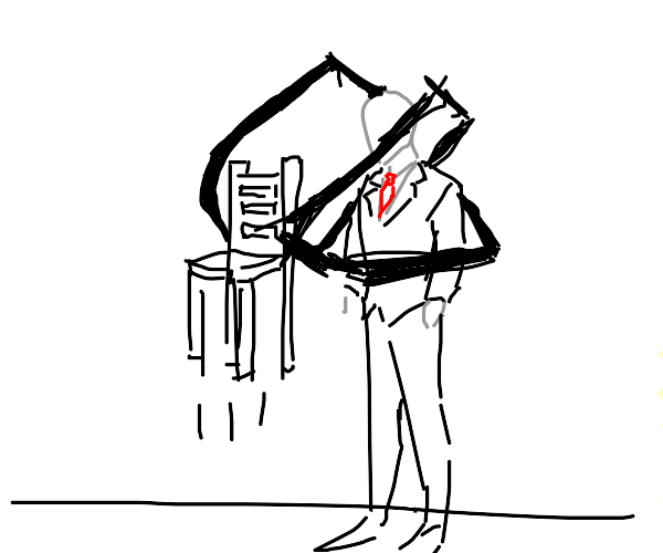 Slenderman picking up a chair