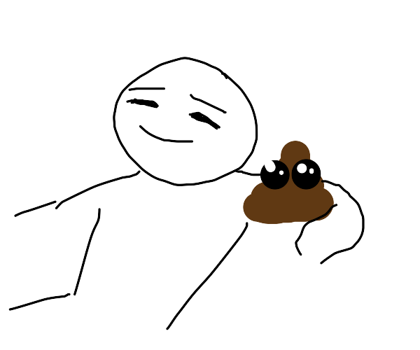 man and poop celebrate their accomplishments
