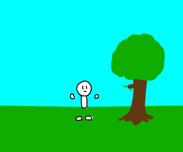 defult caracter  in plain with one tree