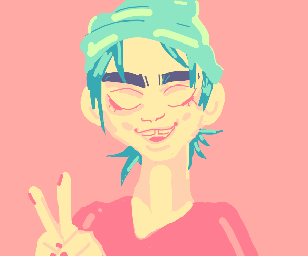 Girl w/ blue hair doing victory sign