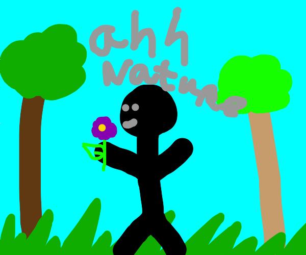 stickman enjoys nature