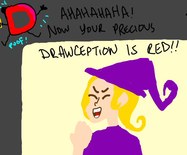 blonde witch turned the D from blue to red