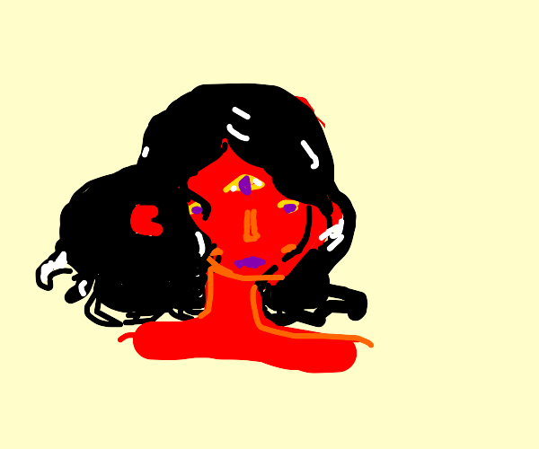 Red lady with 3 eyes