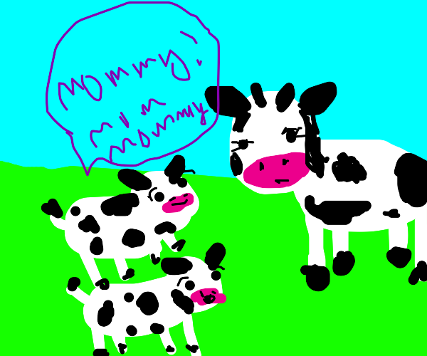 cow with annoying kids