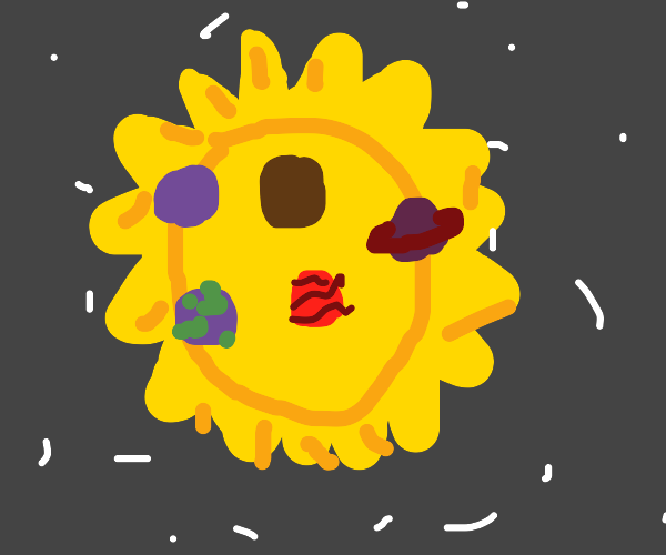 The planets burning up in the sun