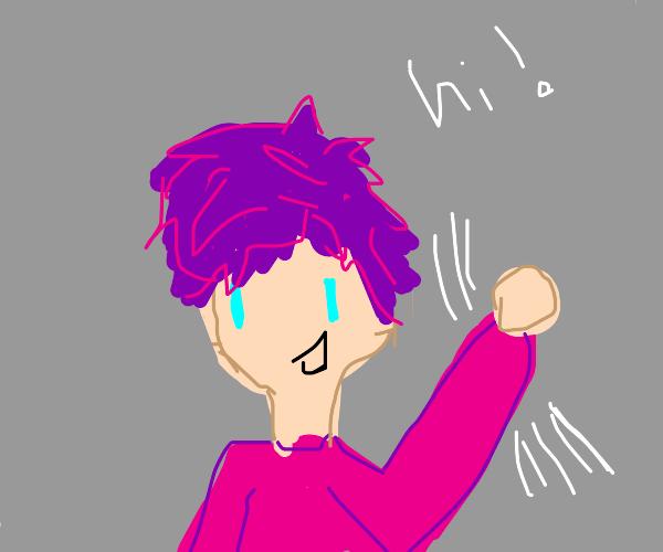 Purple hair boy waves hi
