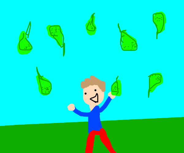 Kid catching falling pears