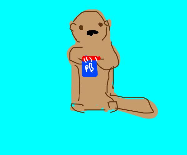 Otter loves peanut butter