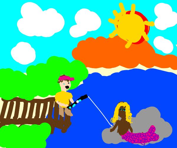 Fisherman shocked by blonde mutant mermaid