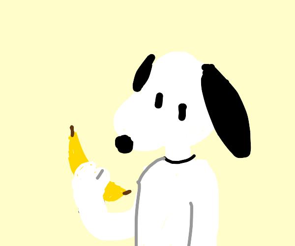 Snoopy holding a banana