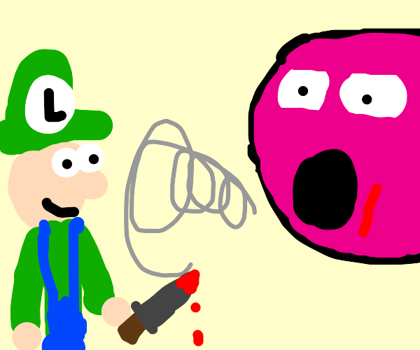 Luigi about to stab Kirby