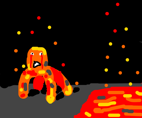 A lava creature with bleeding eyes