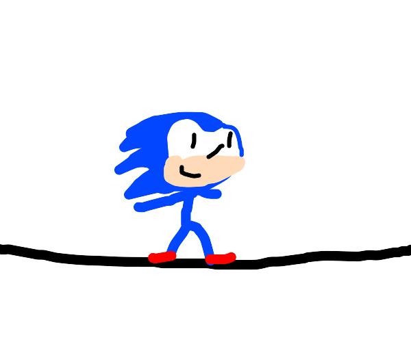 sonic on a balance beam
