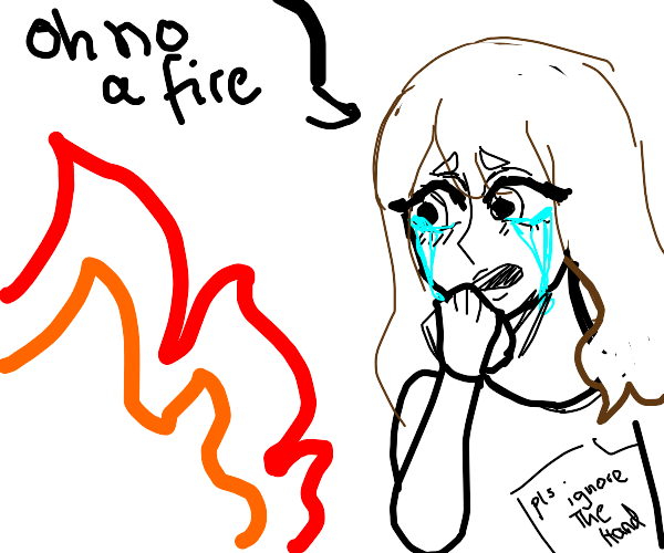 Person crying over fire