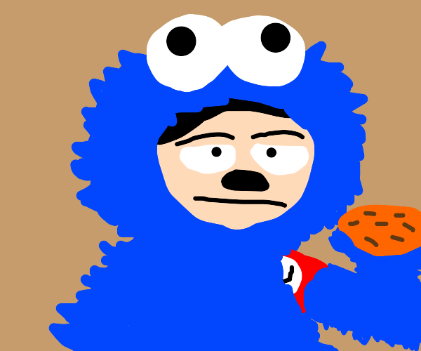 Adolf Hitler wearing a cookie monster costume