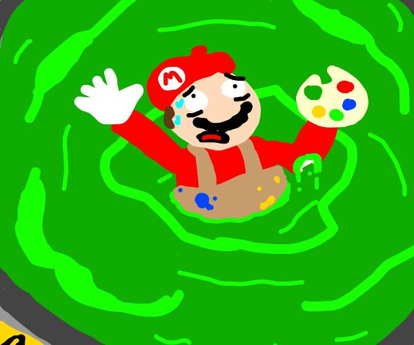 painter mario dissolves in a vat of acid
