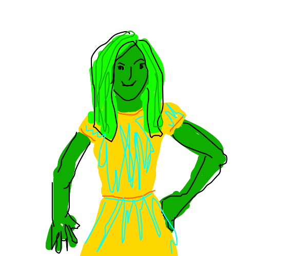 Green hair and skin girl dressed in neon