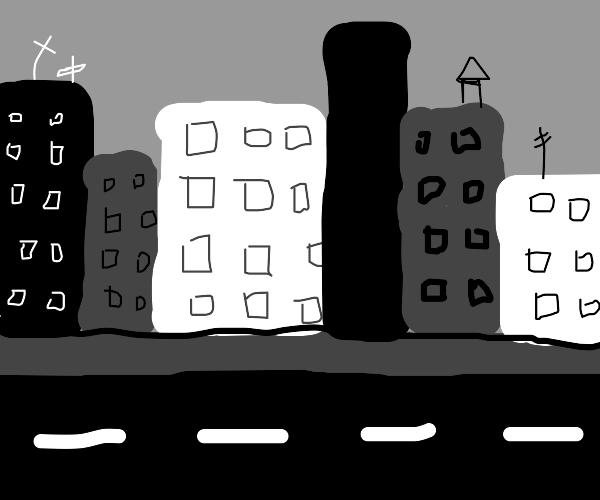 Gray city, nearly no nature left