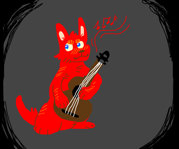 Red dog plays rock on his guitar