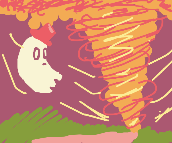 ghost stares at tornado