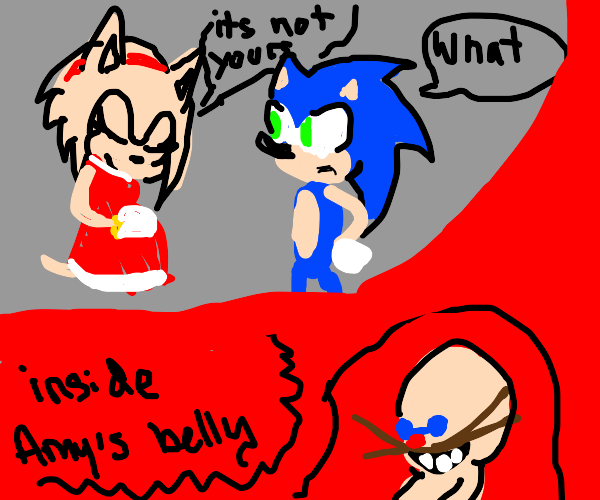 amy rose is somehow pregnant with a human