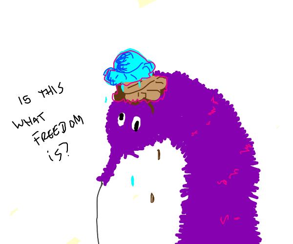 Worm with ice cream on head