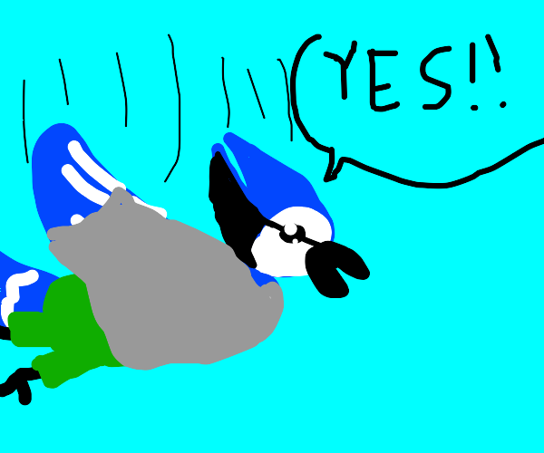 Blue bird-man happily falling from air
