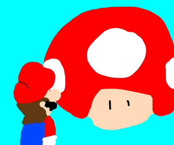 mario looks at mushroom 2/3rds his size