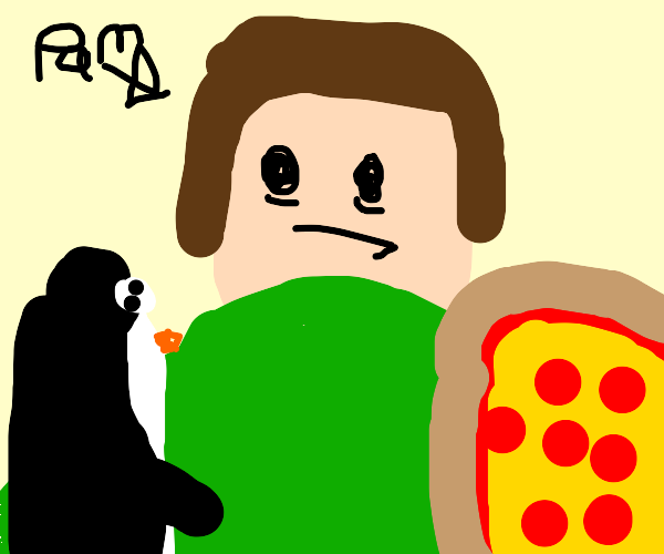 Pam can't choose between penguins & pizza